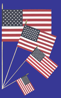 (100) 4x6 US Hand Held Flags with Spear Tip FREE SHIPPING